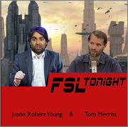 FSL Tonight hosts Tom Merritt and Justin Robert Young pictured in front of the Coruscant skyline. Image by Nick Etherton